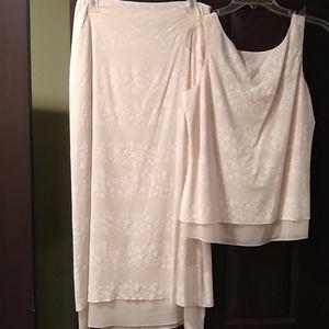Cream top, maxi skirt set, cream, 2 piece, MAG